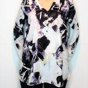 Smilpy Vera Wang V Neck Button Floral Dress Blouse